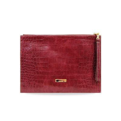croco embo clutch burgundy